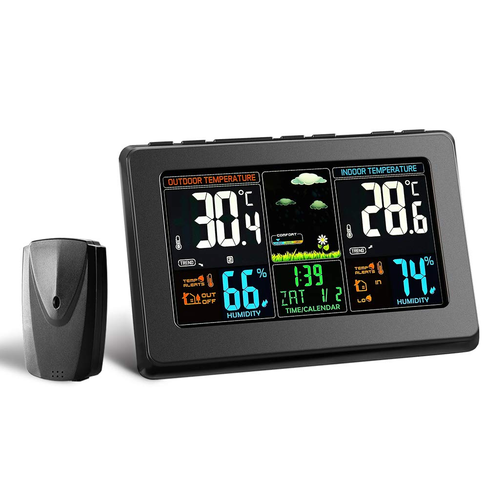 Wireless Weather Station, Houzetek S657 Digital Indoor Outdoor Thermometer Color Forecast Station Home Temperature and Humidity Monitor, Large Display Digital Tabletop Hygrometer with Sensor, USB Port by Houzetek