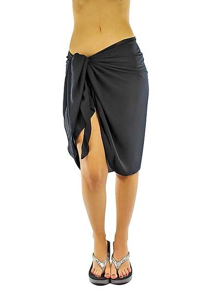 956c5d5a04a1b Luxury Divas Sheer Black Knee Length Cover Up Sarong Wrap for Women ...