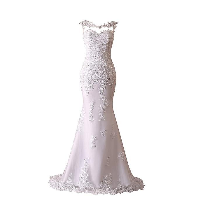 Amazon.com: JinXuanYa - Vestido de novia con cuentas de ...