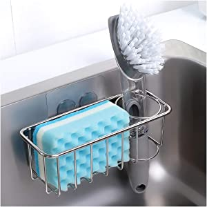 Adhesive Sponge Holder + Brush Holder, 2-in-1 Sink Caddy, SUS304 Stainless Steel Rust Proof Water Proof, No Drilling