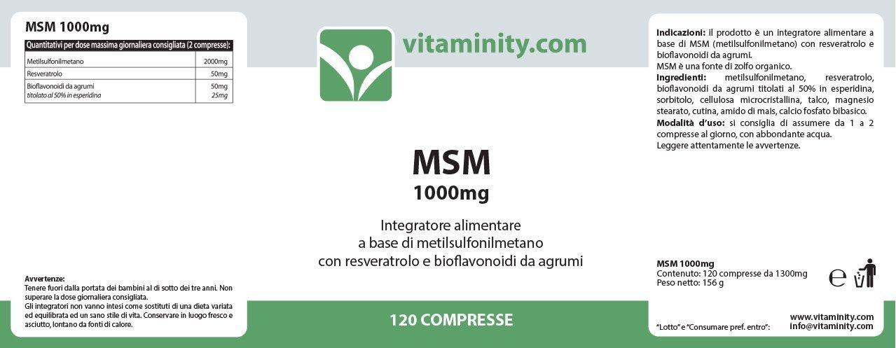 vitaminity - MSM 1000 mg - Suplemento Alimenticio bañado para pelo y Cute: Amazon.es: Belleza