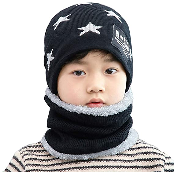 f4e27eb4 Toddler Baby Knit Hat Scarf Winter Warm Beanie Cap with Circle Loop Scarf  Neckwarmer Fleece Lining