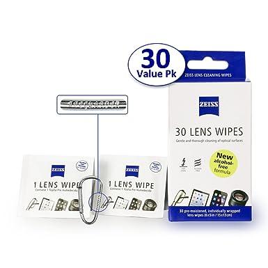 Zeiss toallitas limpiador de lentes prehumedecidas [2016 Nueva Fórmula Sin Alcohol]-Limpia las