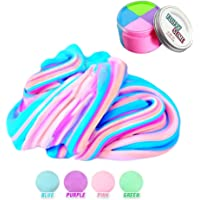 BULUNO Fluffy Slime - 4 Colour Jumbo Floam Cloud Colorful Rainbow Slime Stress Relief Toy for Kids and Adults Soft Stretchy and Non-sticky 7 OZ