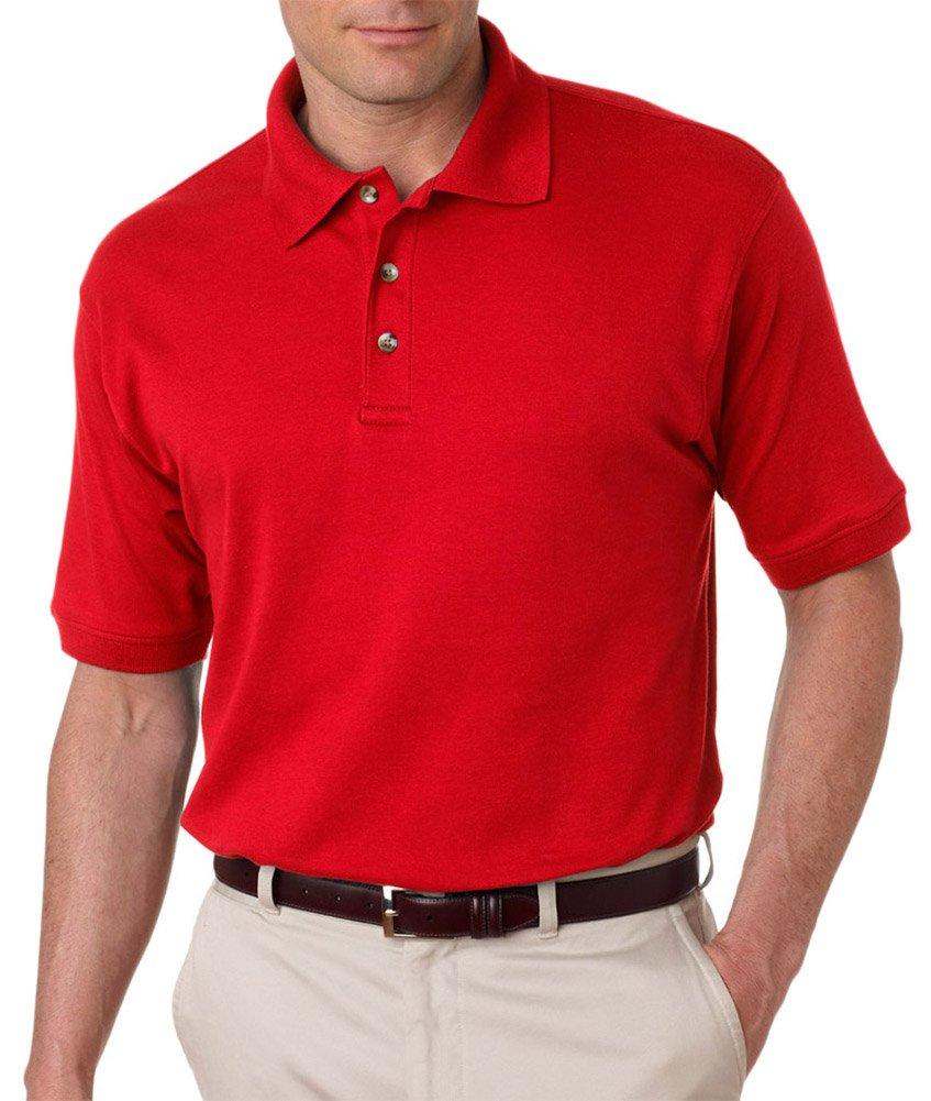 Ultraclub Men's Egyptian Interlock Polo Shirt, Red, XXX-Large