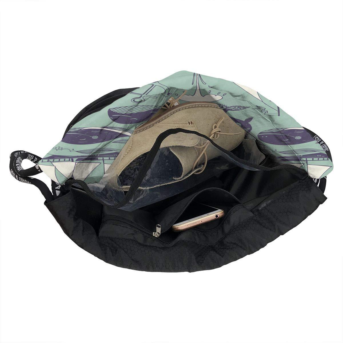 Zol1Q Lightweight Waterproof Large Storage Drawstring Bag for Men /& Women Whale Ship Cinch Backpack Sackpack Tote Sack