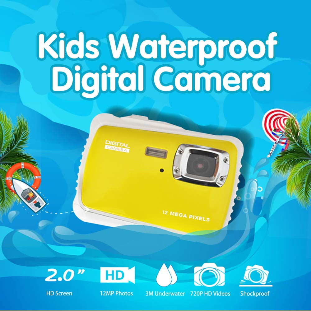 Kids Waterproof Camera Digital Camera for 4-10 Years Old Children, 12MP HD Underwater Action Camera Camcorder with 8X Digital Zoom, 2.0 Inch LCD Display, 16G Micro SD Card – Easy to Use (Yellow) by tesha (Image #2)