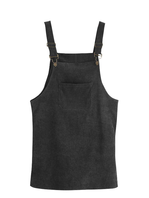 TALLA S. SOLY HUX Mujer Pichi Falda Peto de Canalé con Bolsillo en la Parte Delantera Negro S