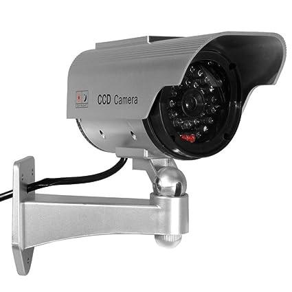 Maclean - Sol1200 - cámara de vigilancia simulada con led intermitente (con módulo solar)