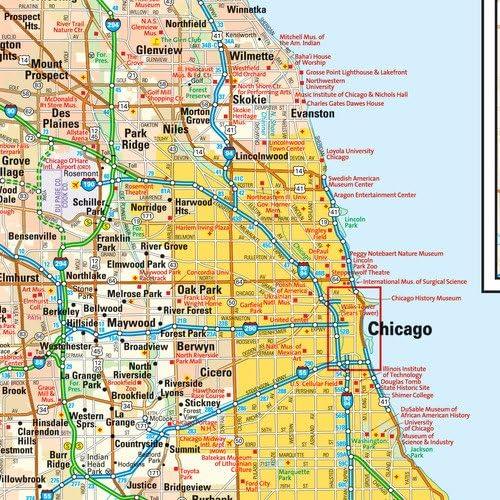 Mapa de pared de Chicago, Illinois, laminado de 15 x 14.5 pulgadas: Amazon.es: Oficina y papelería
