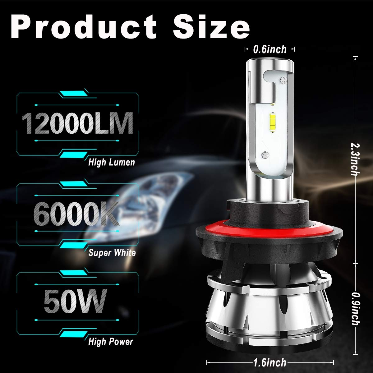 IP67,CSP Chips,360 Degree 100W 12000LM 6000K Xenon White TIANFUYAO H11//H8//H9 LED Headlight Bulbs High//Low Beam,Fog Light Bulb Conversion Kit