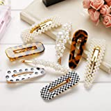 Pearl Hair Clips Resin Hairpins Pearl Barrettes for Women Girls-8pcs Large Bows/Clips/Ties for Gifts Headwear Barrette Bride Wedding Headwear.