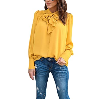 f3a2134f215 USGreatgorgeous Womens Ladies Bow Tie Neck Bowknot Cuffed Sleeve Blouse Tops  Shirts (M, yellow