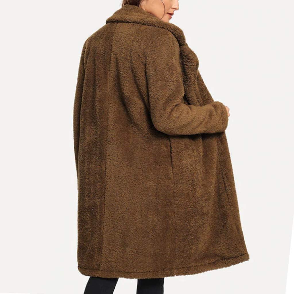 Zainafacai Womens Fashion Coats Open Front Lapel Fuzzy Fleece Overcoats Midi Cardigan Faux Fur Warm Winter Jackets