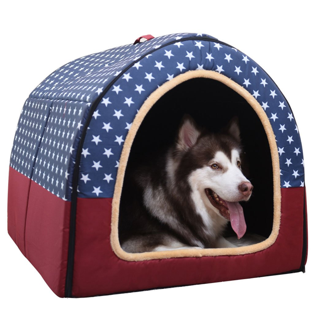 70x55x57CM RUNWEI Pet Nest Spacious and Comfortable Four Seasons Dog Bed Dualuse Doghouse Bed (Size   70x55x57CM)