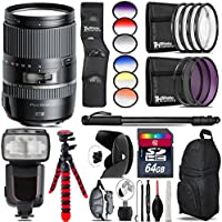 Tamron 16-300mm Di II VC PZD MACRO Lens for Nikon + Elite Series Digital SLR Auto-Focus Power Zoom Flash with LCD Display, Bounce/Swivel for Nikon DSLR (Black) + 6PC Graduated Filter Set + UV-CPL-FLD
