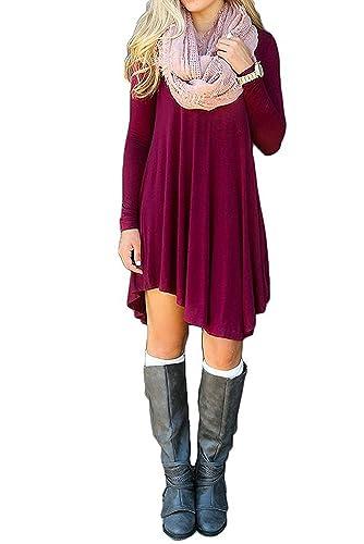 AmySoul Women's Short Sleeve Dress Summer Spring Long Sleeve Dress Casual Irregular Hem Loose Tunic ...