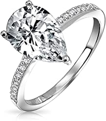 12cde67362a 2.25CT Pear Shape Solitaire CZ Thin Band Cubic Zirconia Engagement Ring  Rose Gold Plated 925