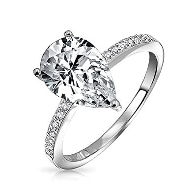 bling jewelry 925 silver 225ct pear solitaire cz engagement ring - Pear Shaped Wedding Ring