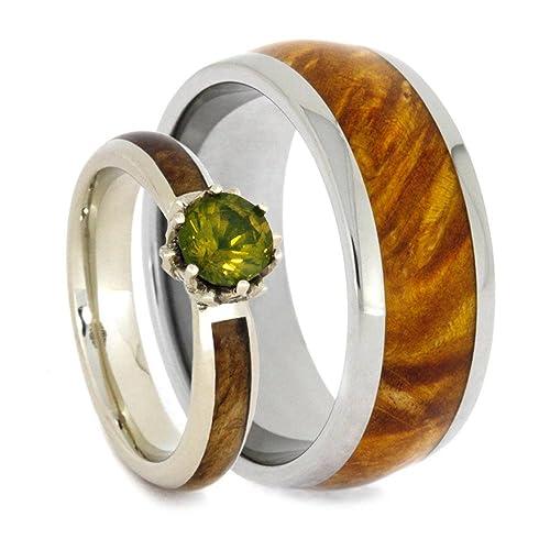 HIS and HErS boda banda Set, laboratorio creado Peridot, solitario diamond negro Ash Burl Anillo de compromiso y oro Box Elder Burl titanio boda banda: ...