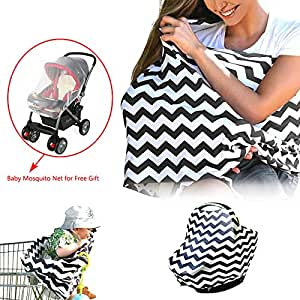 Universal Stretchy Infant Nursing Cover, Baby Carseat Canopy, Shopping Cart and High Chair Cover for Boys and Girls, Breathable, Black/White Chevron Pattern, 1 Baby Stroller Mosquito Net for Bonus