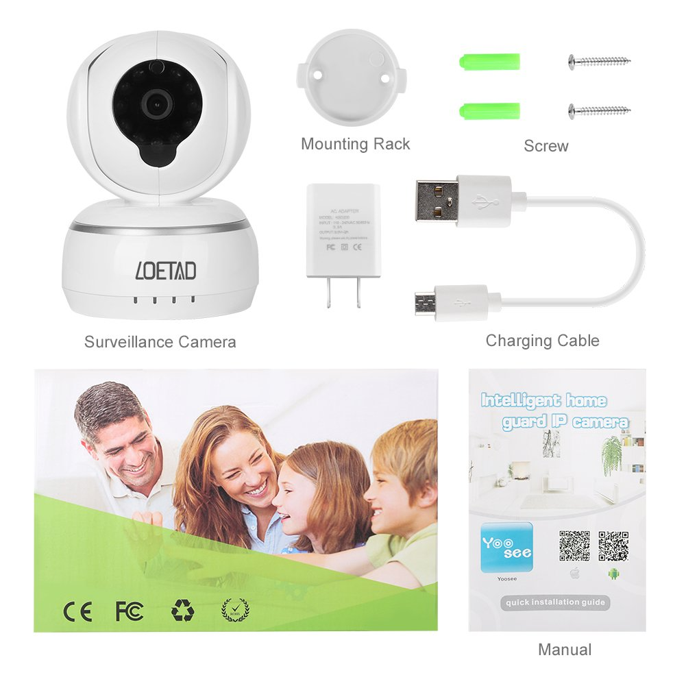 Wireless IP Camera Security WiFi Camera 1080P by LOETAD HD Two-Way Audio  with Infrared Night Vision Remote Monitor Compatible with  iOS/Android/Windows