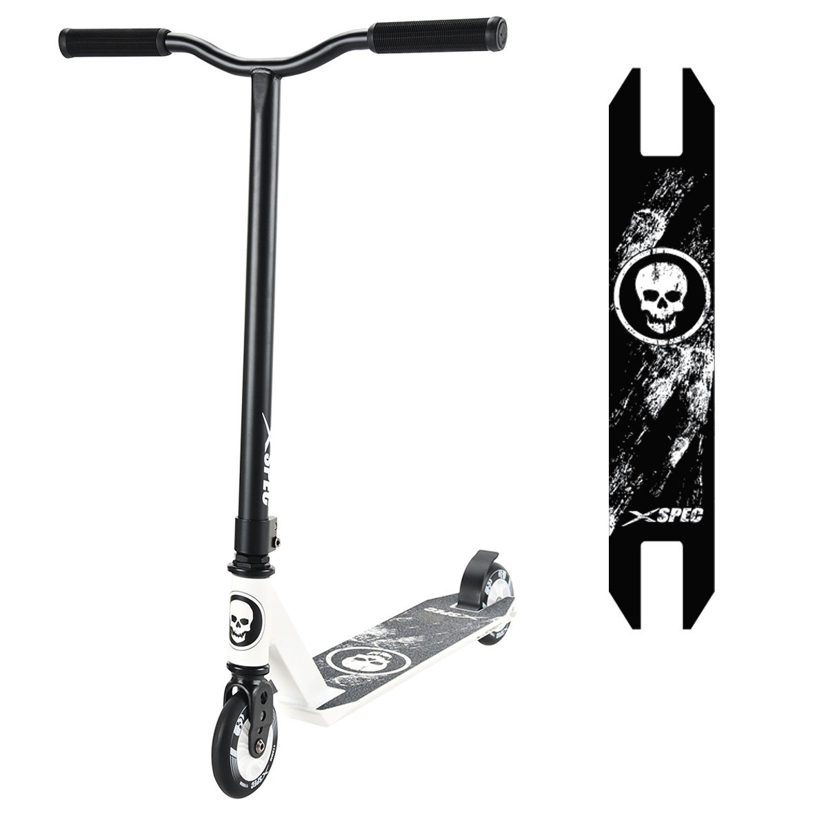 Xspec Pro Stunt Kick Scooter w/Strong Aluminum Deck, White & Black w/Skulls by Xspec