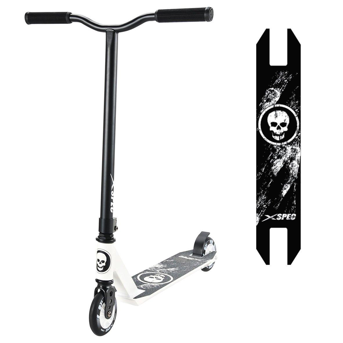 Xspec Pro Stunt Kick Scooter w/Strong 6061 Aluminum Deck - 220lb Weight Limit - TPR Rubber Hand Grips - ABEC-7 Bearing
