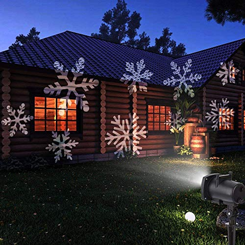 LESHP LED Projector Lights, 12PCS Switchable Pattern Gobos Slides Waterproof Sparkling Landscape Projection Light for Decoration Lighting on Christmas Halloween Holiday Party Home Decor ()