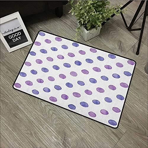 Sillgt Purple Pet Doormat Watercolor Paint Style Nostalgic Retro Style Polka Dot Pattern Nursery Theme Classic Non Toxic Rug 20
