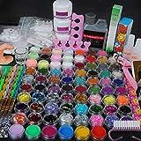 Coscelia Acrylic Nail Set with 78 Acrylic Powder Glitter Mini-ball Velvet and 120ml Acrylic Liquid Nail Art Design Kit