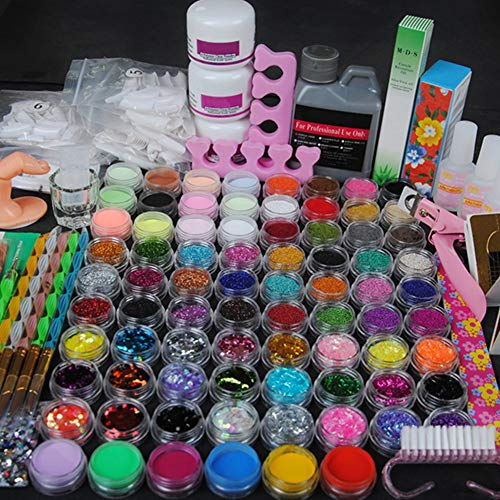 Coscelia Acrylic Nail Set with 78 Acrylic Powder Glitter Mini-ball Velvet and 120ml Acrylic Liquid Nail Art Design (Best Generic Gel Nail Kit)