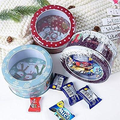 Handfly Caja de regalo de la caja de lata del muñeco de nieve de Santa de la Navidad Santa Caja de dulces de Navidad Latas de metal Vacías para la fiesta de