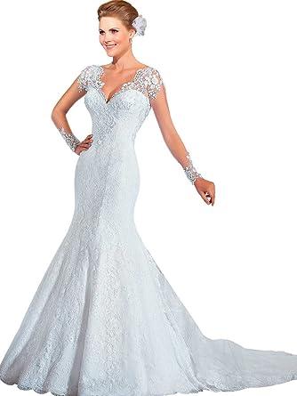 VERNASSA Women\'s Mermaid V-Neckline Wedding Dress with Appliques at ...
