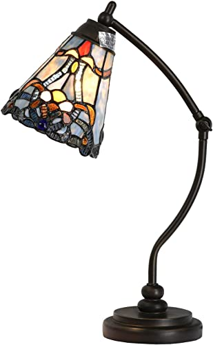 Bieye L10688 Baroque Tiffany Style Stained Glass Rocker Arm Reading Desk Lamp Night Light with 6 inch Wide Blue Shade for Working Reading Bedside Bedroom Living Room, 19 inch Tall