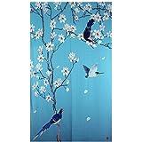 Xiaopangzi Traditional Chinese Flower Trees Door Curtain Japanese Noren  Curtain Bedroom Curtain Doorway Curtain (C