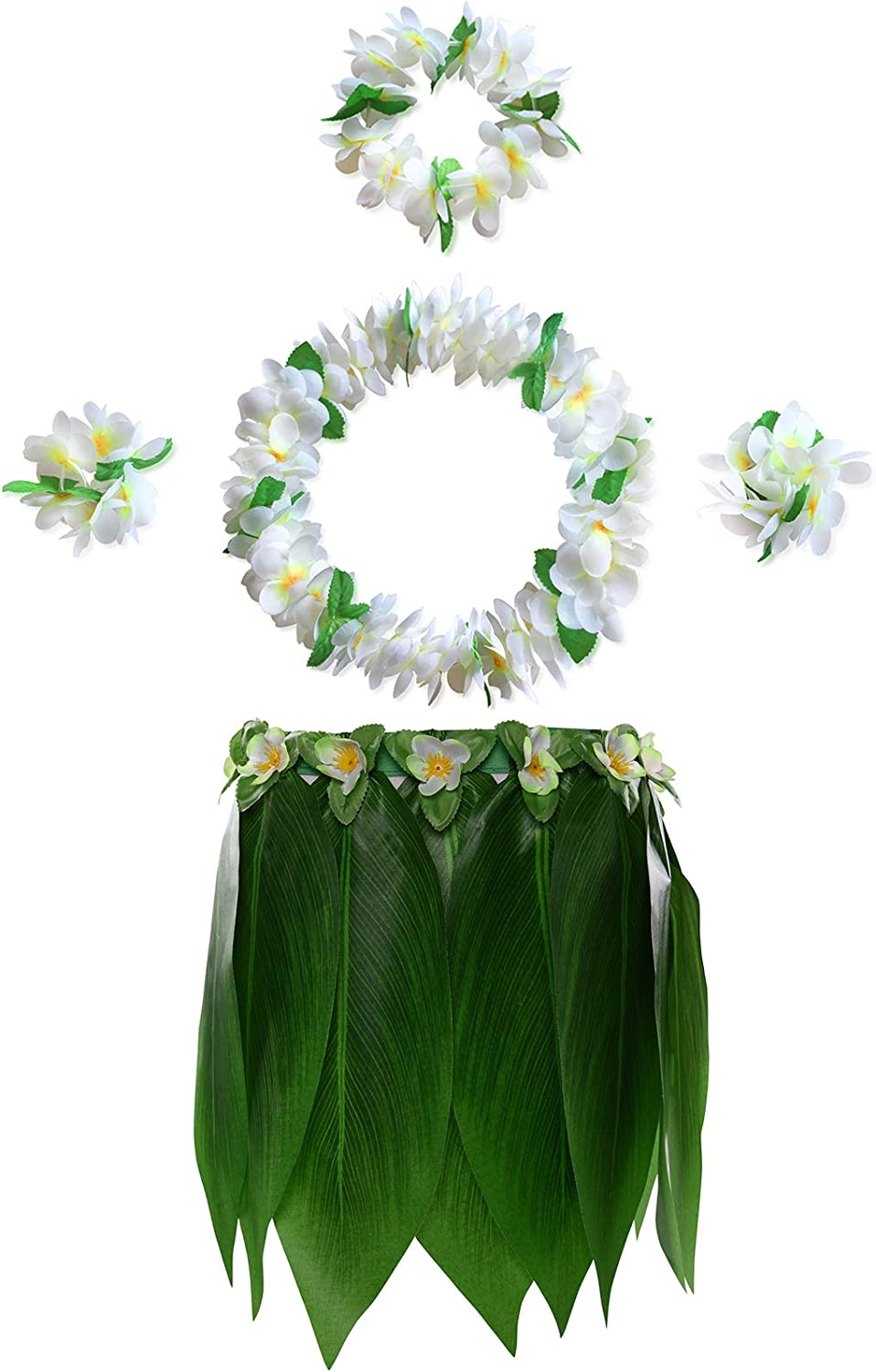 F KEFAN Leaf Hula Skirt and Hawaiian Leis Set Grass Skirt with Artificial Hibiscus Flowers for Kids