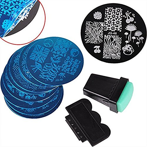 Nail Art Image Stamping Polish Steel Template Kit Polish Print Plate Stamper Set of 10 Qiqilei