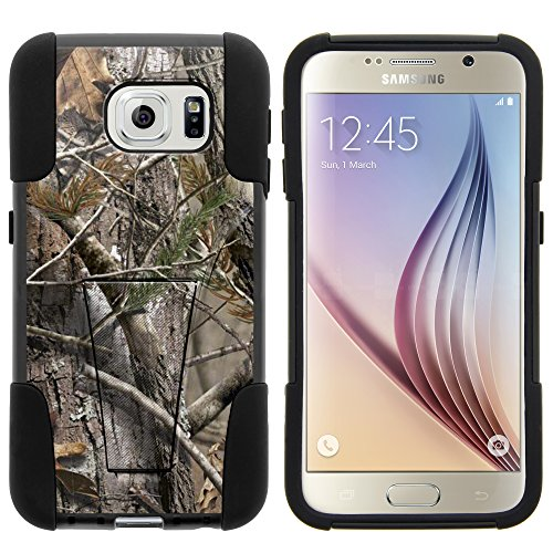 Galaxy S6 Case, Full Body Fusion STRIKE Impact Kickstand Case with Exclusive Illustrations for Samsung Galaxy S6 VI SM-G920 (T Mobile, Sprint, AT&T, US Cellular, Verizon) from MINITURTLE | Includes Clear Screen Protector and Stylus Pen - Tree Bark Hunter Camouflage