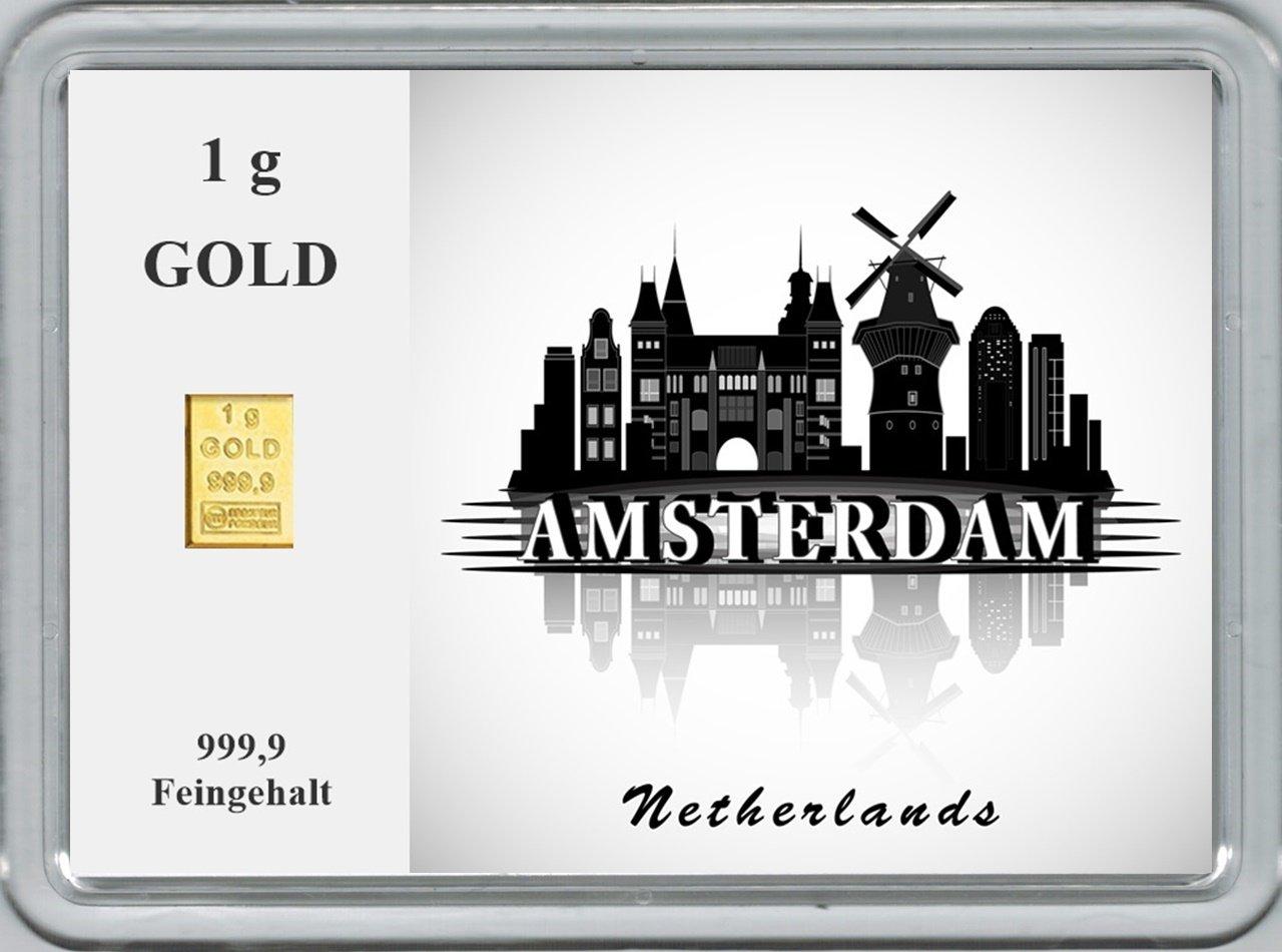 New Edition 1g Goldbarren 999,9 999,9 999,9 FeinGold in Motivbox Städte der Welt - ANKERA  B01MU6FWOW   Ausgewählte Materialien  521c4c