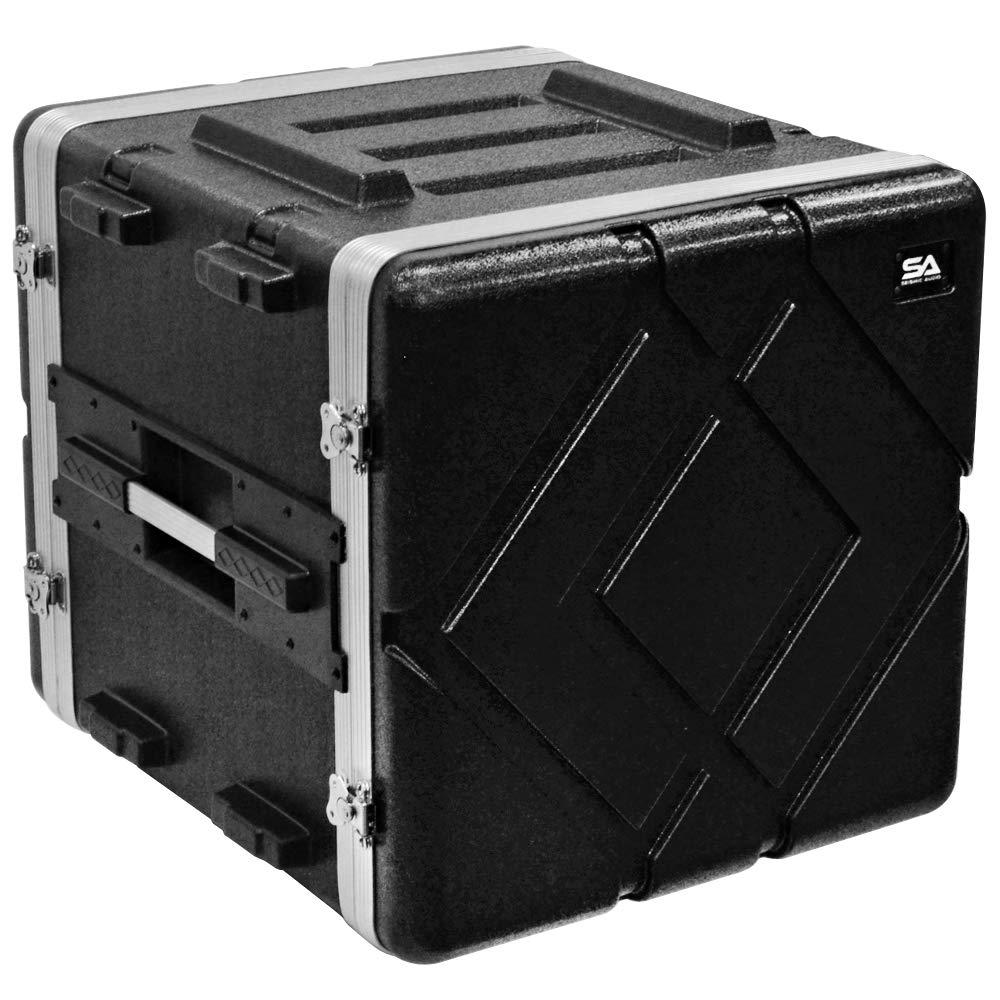 Seismic Audio - SALWR10D - Lightweight 10 Space ABS Rack Case - 10U PA DJ Amp Effects Stackable Flight Rack Case