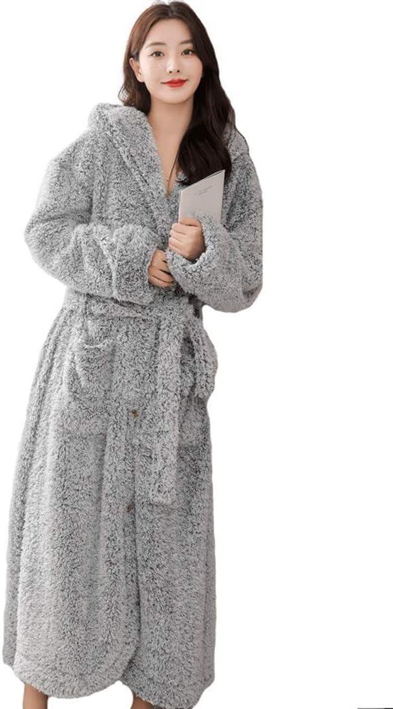 NBVCX Home Life Winter Ladies Plush Plush Robe 8218 Botones de Largo Completo Bata con Capucha Gruesa con Capucha Bata Altamente Absorbente Cómoda (Color: Violeta grisáceo Tamaño: XXXL (173-185))