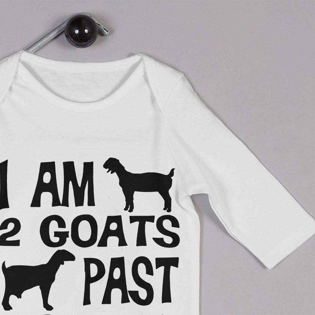I Am 2 Goats Past Normal Goat Printed Boys Girls One-Piece Suit Long Sleeve Rompers Black