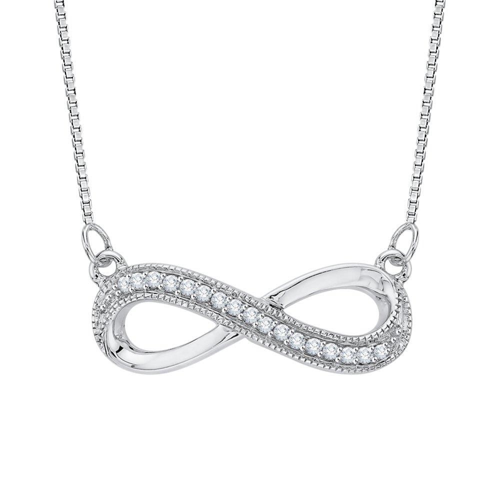 Infinity Diamond Milgrain Pendant Necklace in Sterling Silver (1/20 cttw)