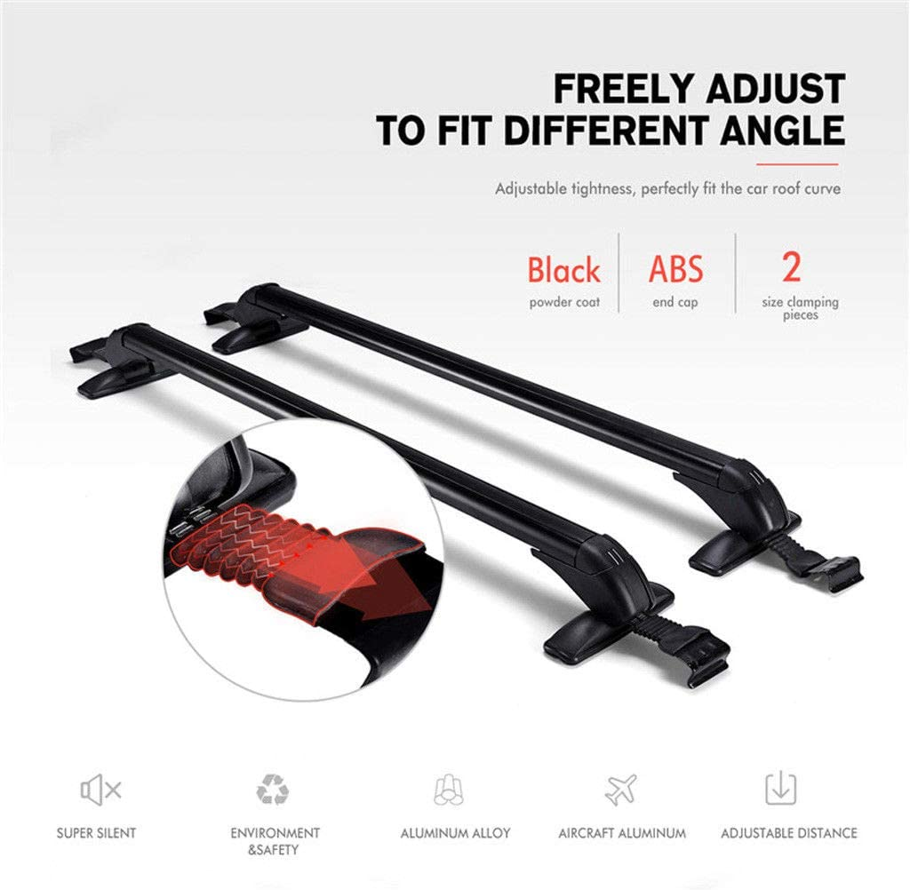 ZanGe Aluminum Luggage Carrier 41.3 Inch Adjustable Roof Rack Bar Lockable Anti-Theft Design Window Frame Kit Mounted Safely 150lbs Capacity with Key-No Needed Roof Sides Rails