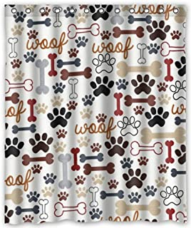 Hot Sale Dog And Paw Prints Theme 100 Polyester Picture Bathroom Curtain Shower
