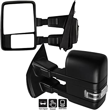Mirrors Folding Power Signal Black /& Chrome Pair Set for Ford F150 F250