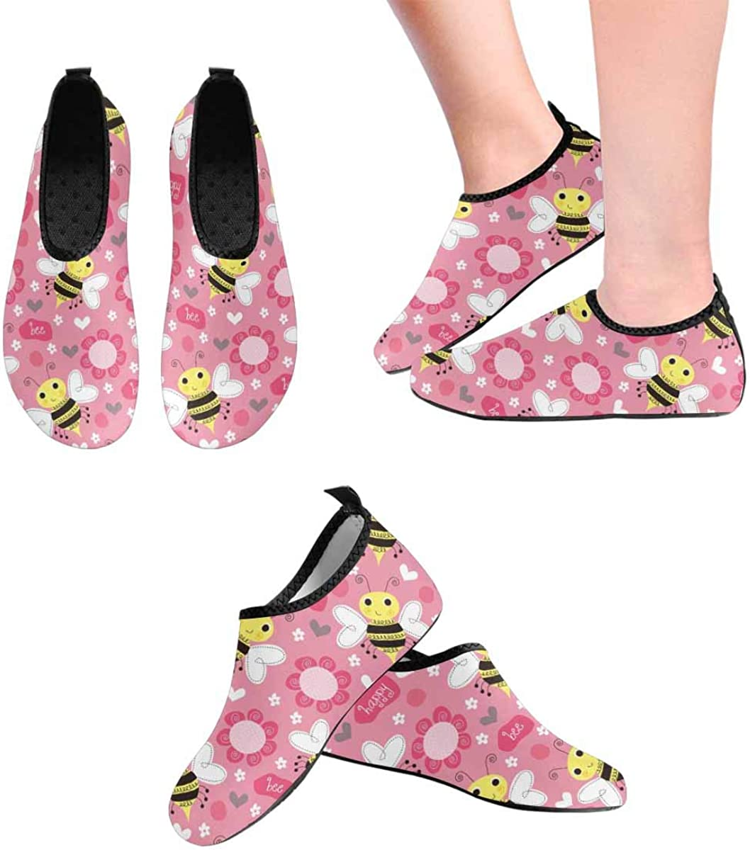 INTERESTPRINT Mens Water Sports Shoes Bee Flowers Barefoot Swim Shoes Quick Dry Beach Pool Socks