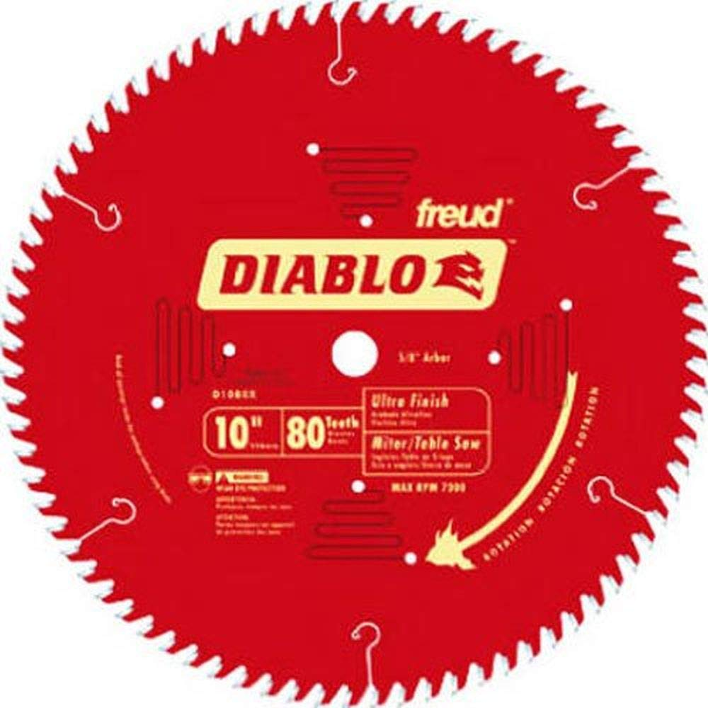"Freud D1080X Diablo 10"" 80-tooth ATB Saw Blade w/5/8"" Arbor&PermaShield Coating"