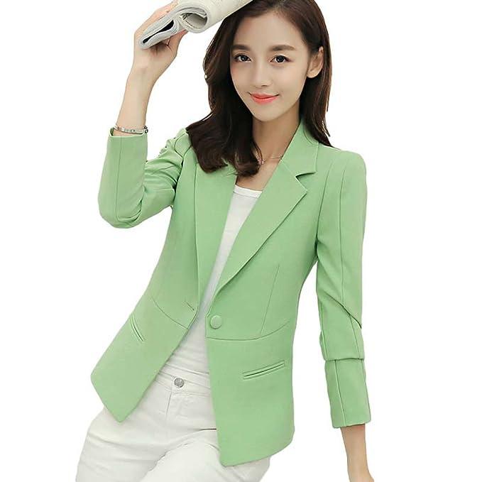 YiLianDa Mujeres Blazer Manga Larga Abrigo Chaqueta Casual Outwear Blusas Coat Cloak Tops Verde L
